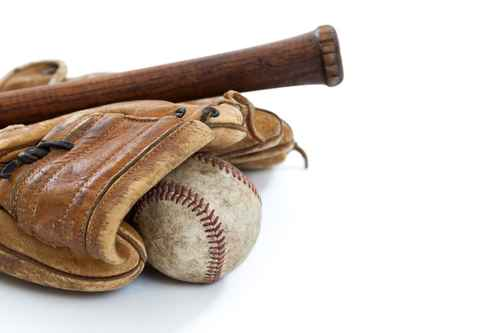 Vintage baseball, bat and glove isolated on white
